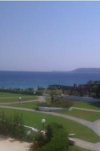 Utsikt från yogasalen, Ialyssos beach, Rhodos