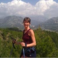 Carina Holgersson med den vackra utsikten på bergspasset