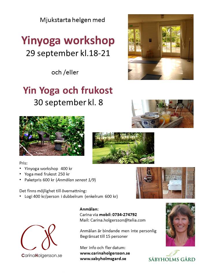 Yinyoga workshop morgonyoga Säbyholmsgård sept 2017